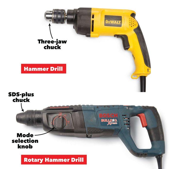 hammer vs rotary drills