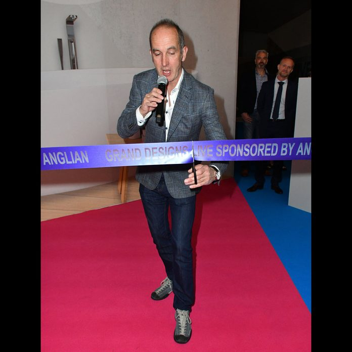 Kevin McCloud cuts a ribbon at Grand Designs Live launch, London, UK - 29 Apr 2017