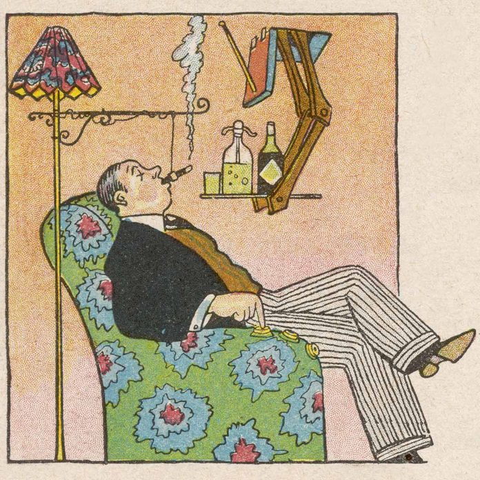 Man-smokes-a-cigar-is-an-illustration-of-a-futuristic-home