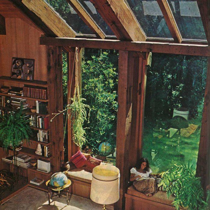 1981 living room with big windows and skylight