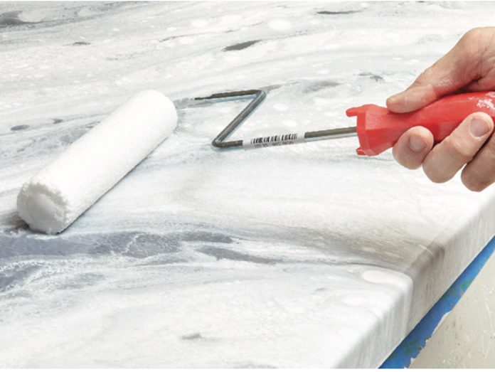 protecting the counter with a top coat