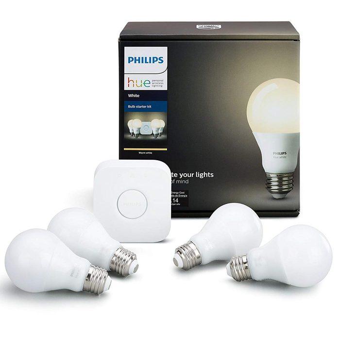 Philips Hue White A19 60W Equivalent LED Smart Bulb Starter Kit