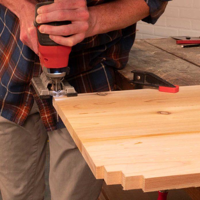 folding outdoor bar glue up and notch shelf