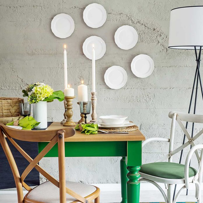 Dining room decor plates on wall