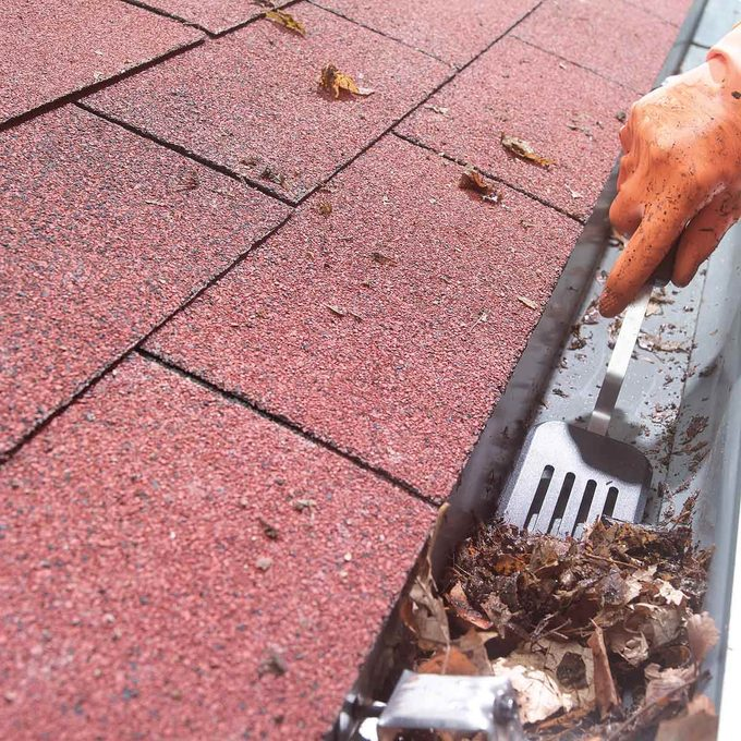 HH clean gutter with a spatula