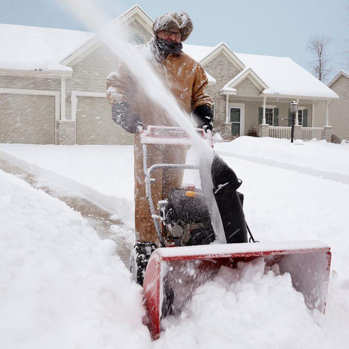 Snow blow driveway winterization