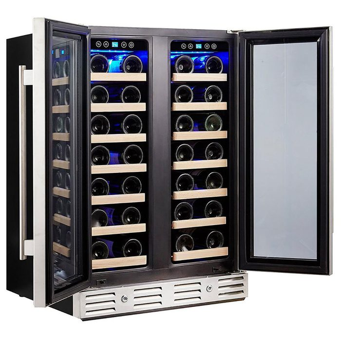 open wine fridge with slotted beech shelves