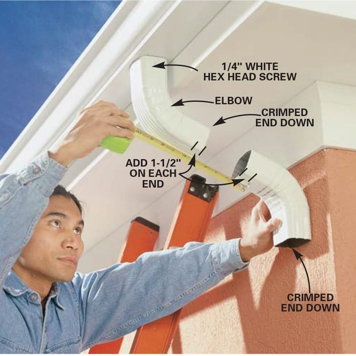 Attach elbows to the downspout
