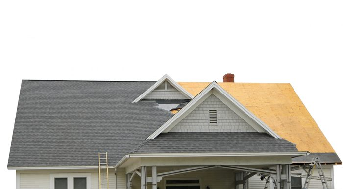 isolated view of new roof under construction