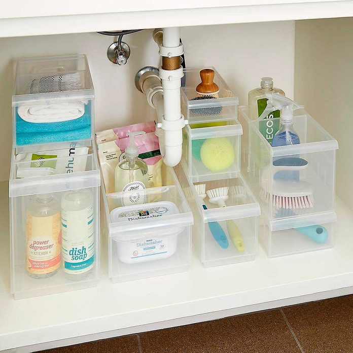 clear stackable plastic storage