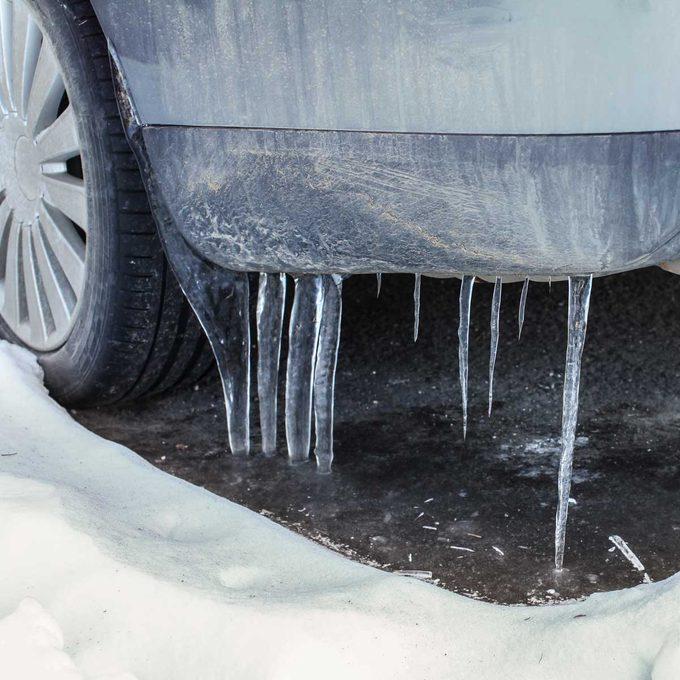 dirty car in winter