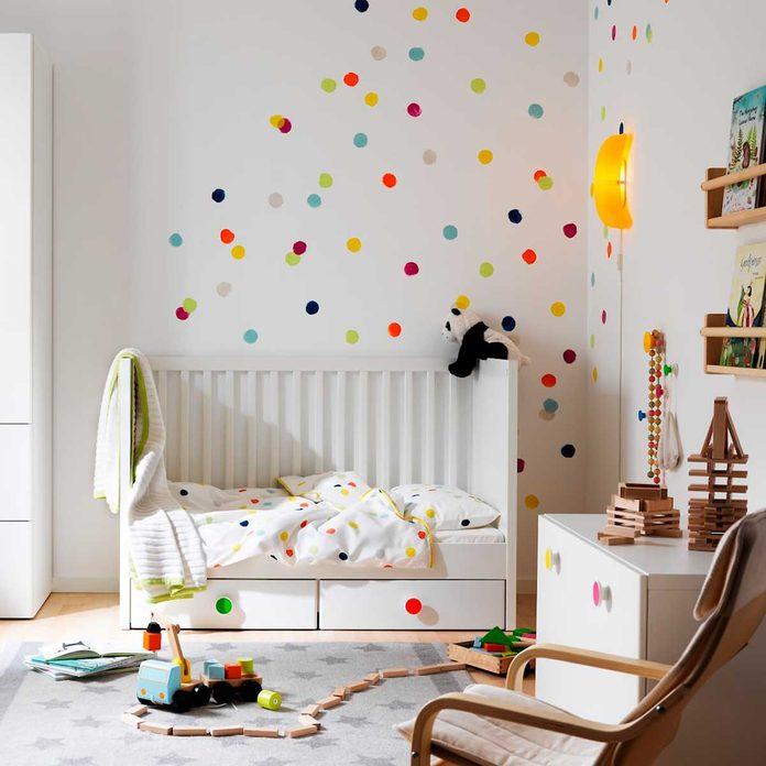 dots on wall bedroom