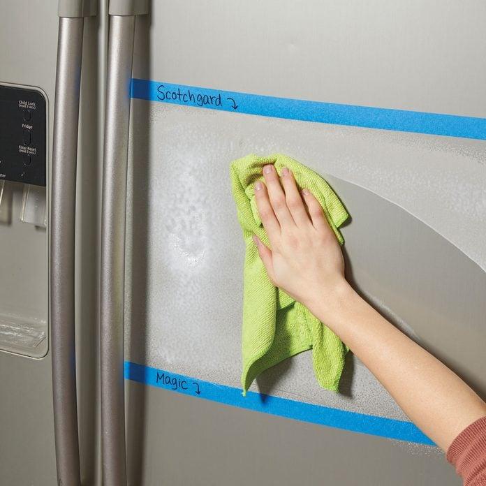 smudge test on fridge