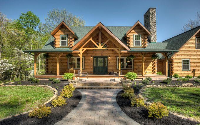 Exterior of log home