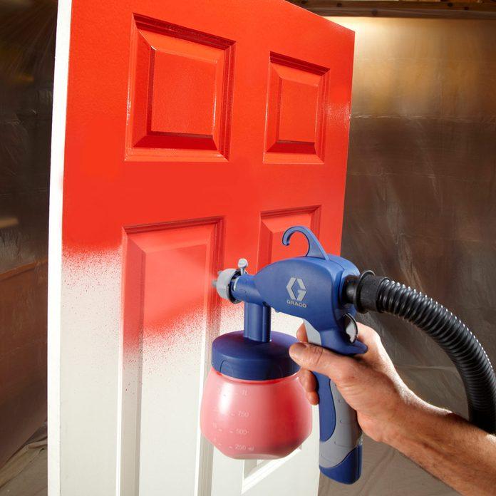 sprayed-on finish paint a door