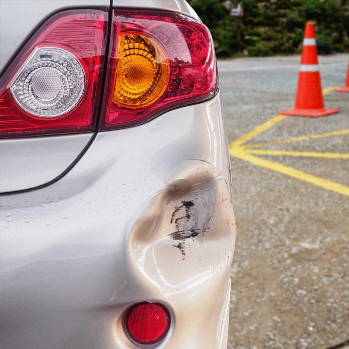 Dented car bumpper