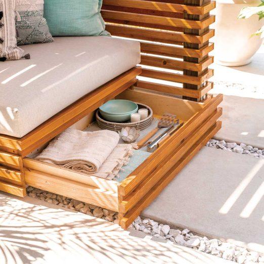 Custom cushion and under-seat drawer