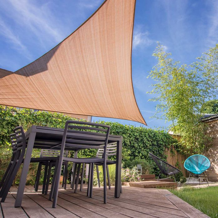 Shade sail over a patio table