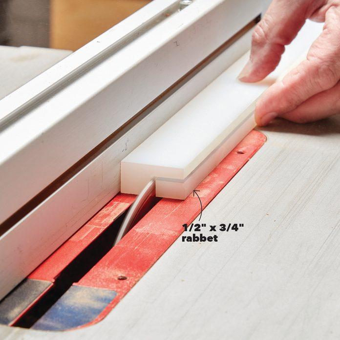 Cutting the rabbet on the guide strips