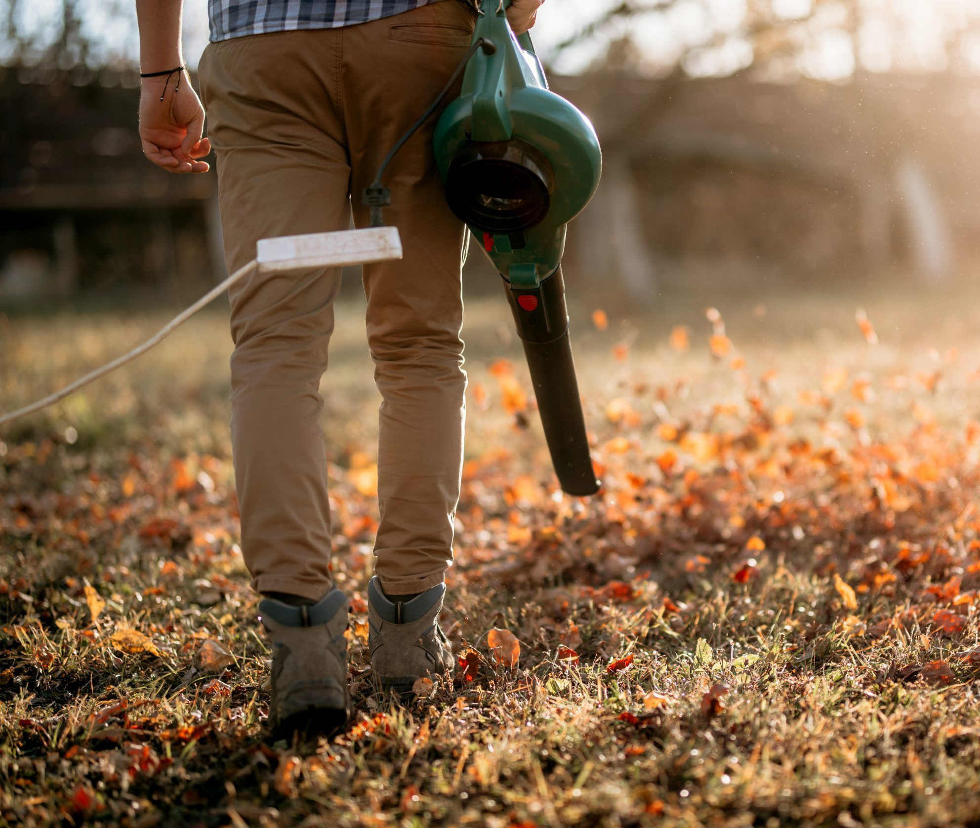 Man Blowing Leaves With Leaf Blower During Autumn Cleaning
