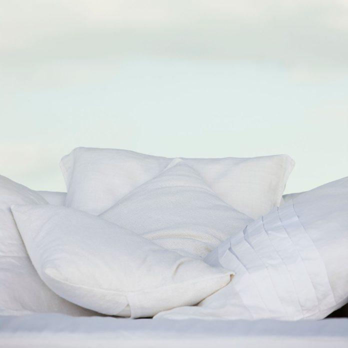 Cushions set outdoors