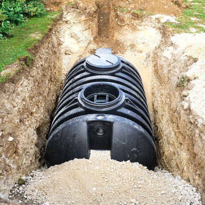 Septic tank in the ground