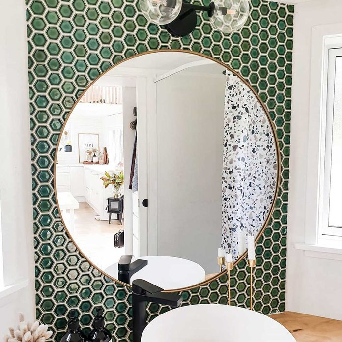 Tiny home mirror with green time