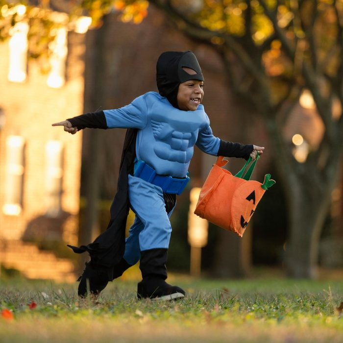 Boy going trick or treating