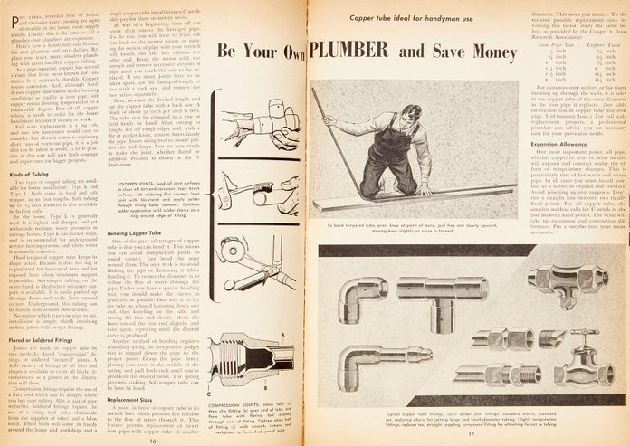 """Vintage Family Handyman magazine spread: """"Be Your Own Plumber"""""""