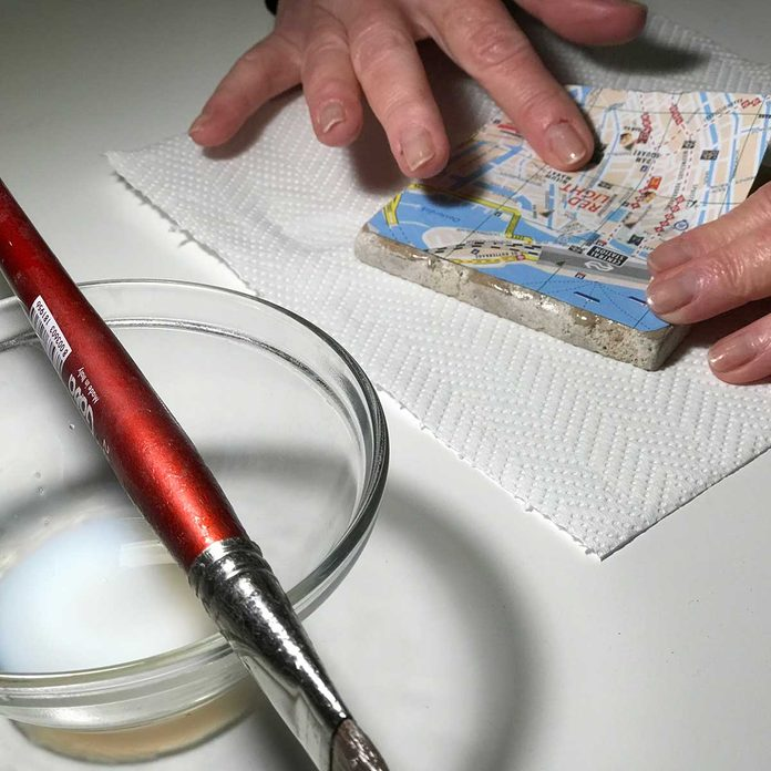 gluing map on tile craft
