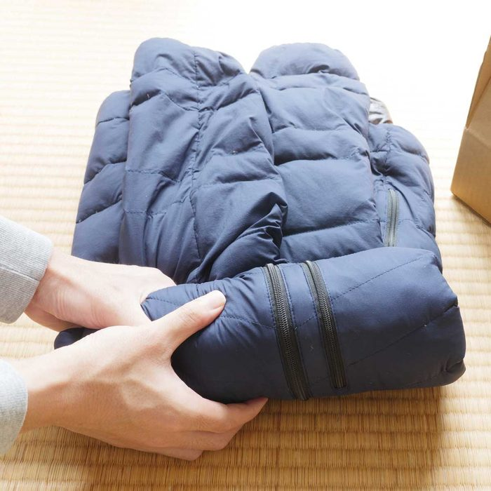 Packing away a down jacket