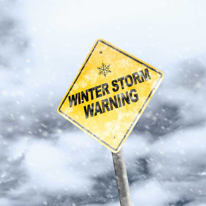 Winter storm warning sign