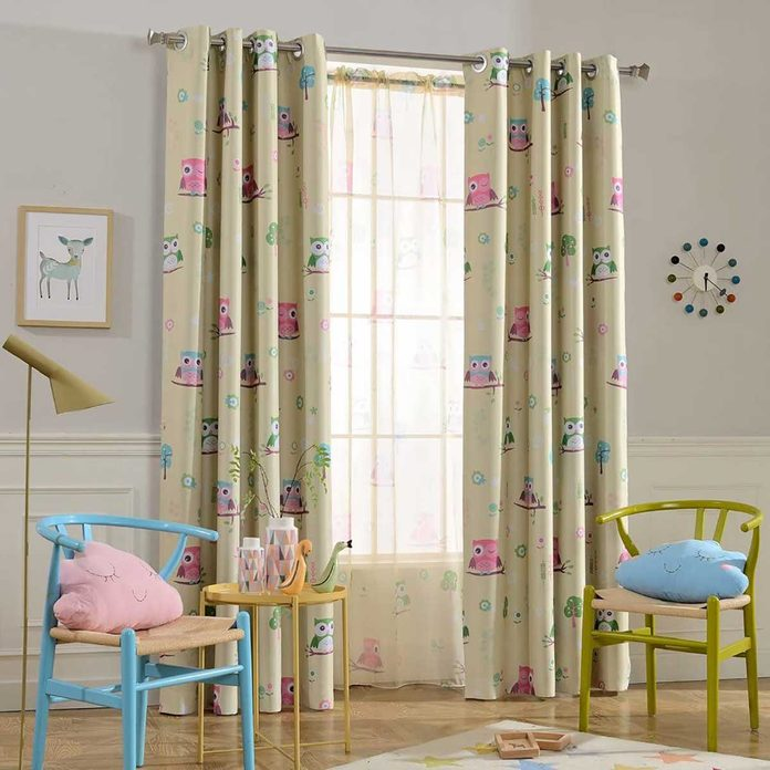 owl pattern blackout curtain for kids