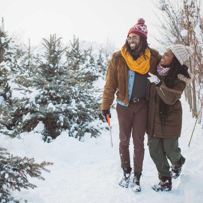 Young couple at a Christmas tree farm