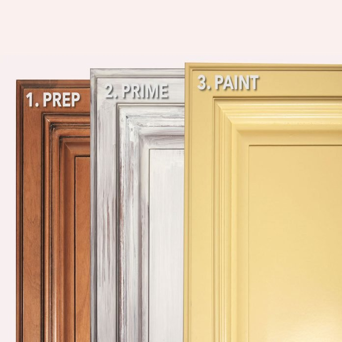 3 steps to Paint Cabinets Graphic Copy