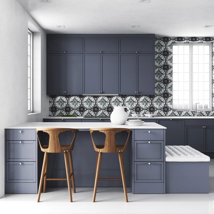 Blue and gray kitchen