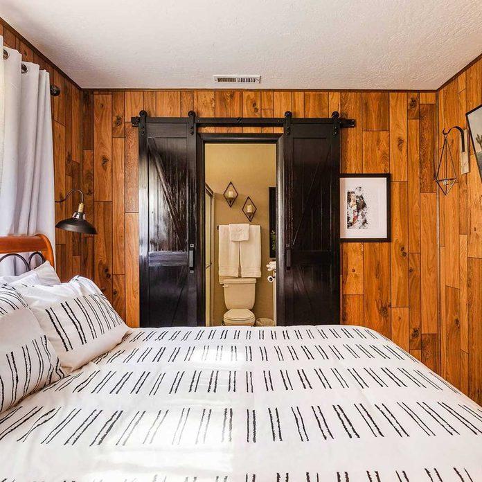 Cabin bedroom barn doors