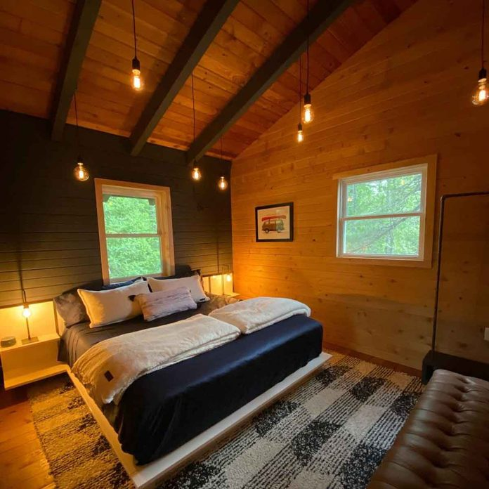 wood panel walls cabin