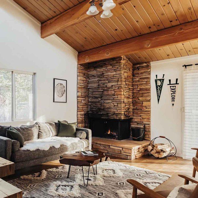 cabin brick fireplace