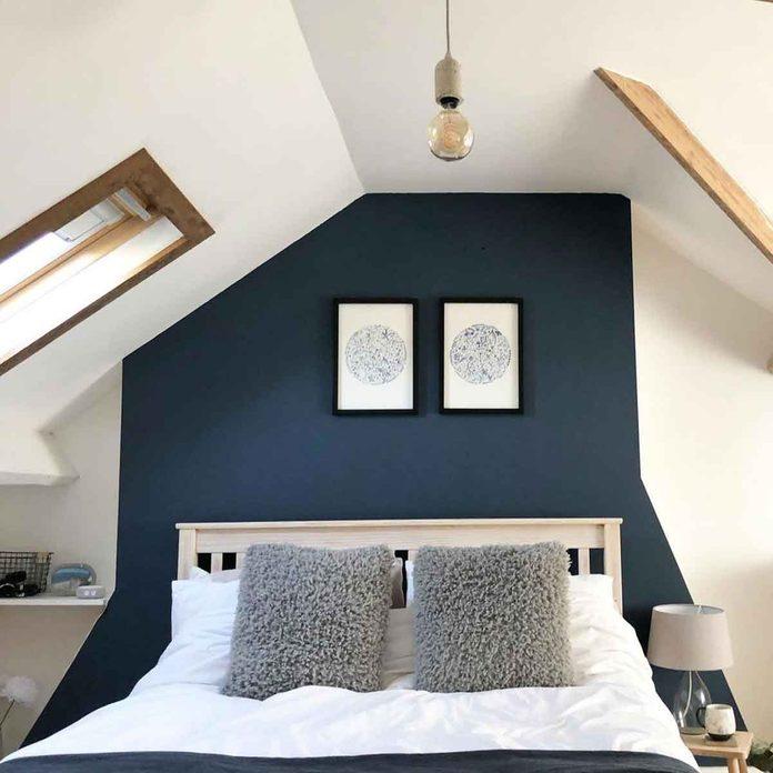 attic bedroom blue wall