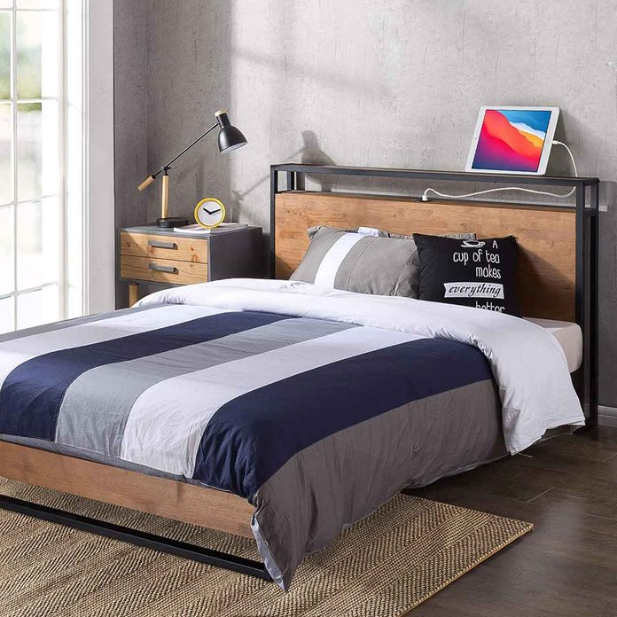 metal and wood platform bed frame