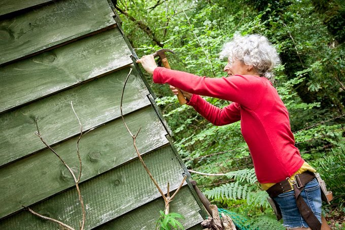 Older Woman Making Repairs To Her Cabin