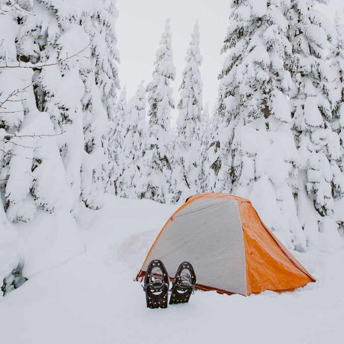 Camping And Snowshoeing