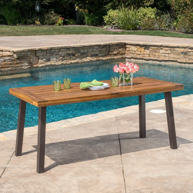 Della Outdoor Acacia Wood Rectangle Dining Table By Christopher Knight Home 5f4b865f 181c 4a82 84f5 7c3ace9a8981 1000