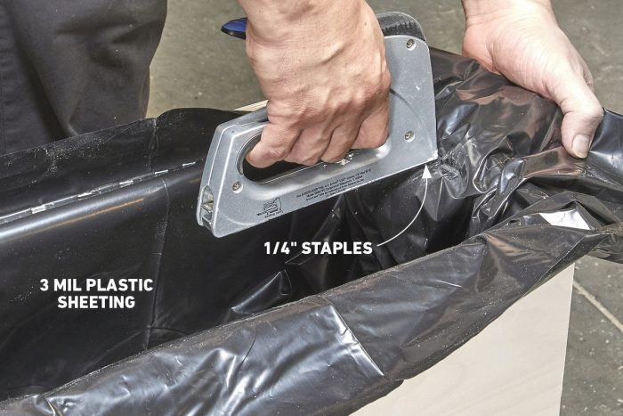 Staple the plastic liner