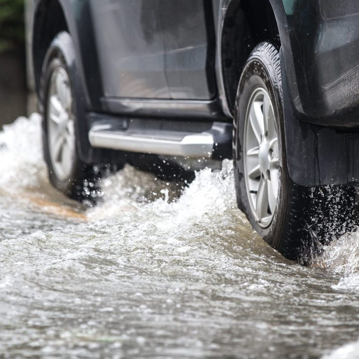 Pickup truck stuck in a flash flood