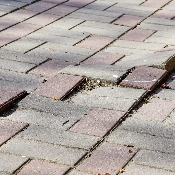 sunken pavers on patio