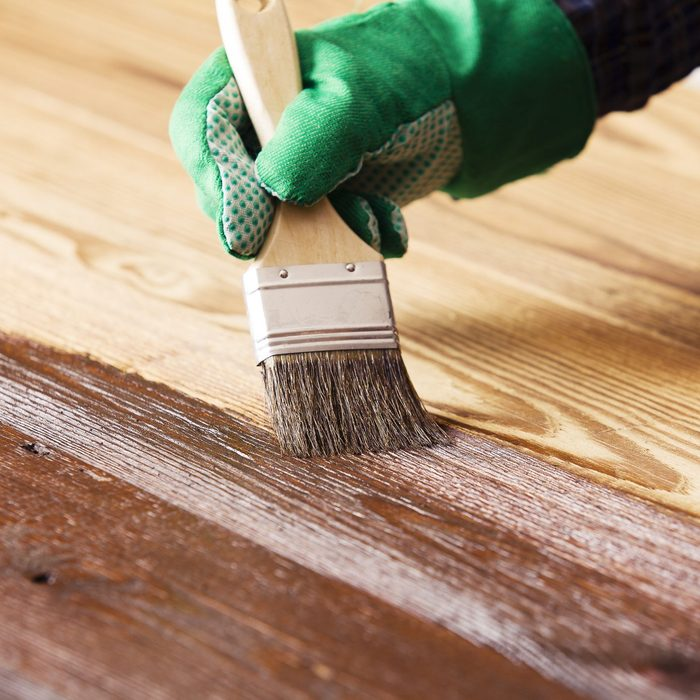 Staining wooden deck