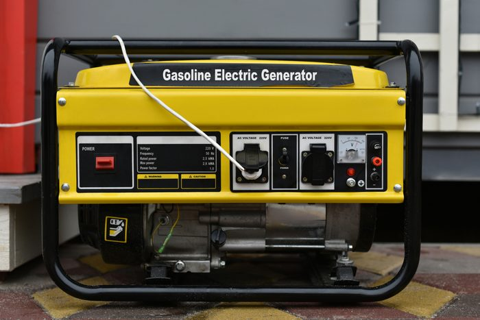 gasoline electric generator outside of house