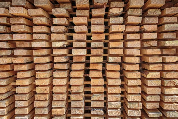 stack of construction wood not meant to be burned